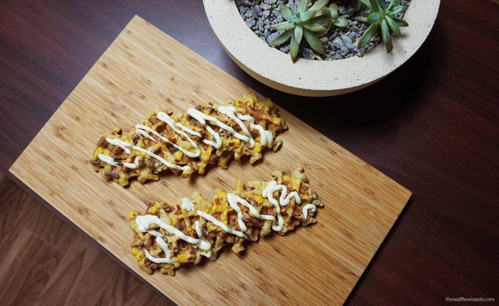 Sweet Corn and Chorizo Waffles with Aioli Sauce