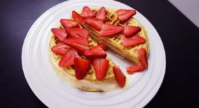 Cheesecake Waffles with White Chocolate Ganache