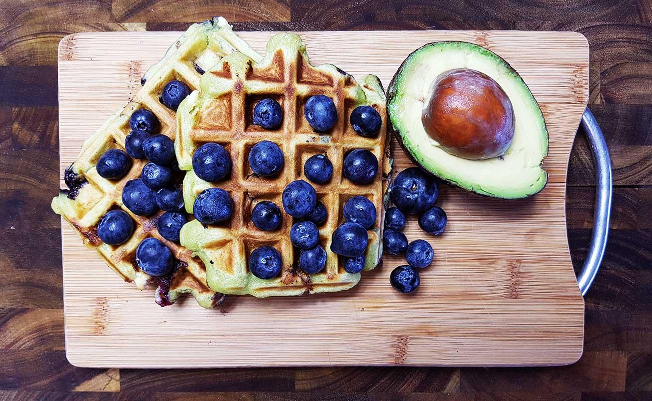 Blueberry Avocado White Choc Chip Waffles